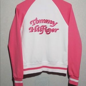 Tommy Hilfiger pink and white jacket, Women's S